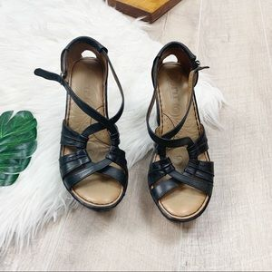 Born Shoes - Born Black Ankle Slingback Open Toe Platform Wedge